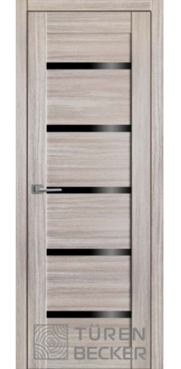 """Дверь межкомнатная Turen Becker М06 Неаполь серый (стекло – черный лакобель) серия """"М"""""""