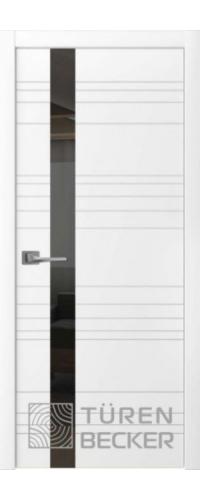 Дверь Соммер Эмаль ПО (стекло - черный лакобель) белая эмаль