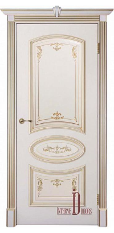 Дверь межкомнатная БАГЕТ 3 ПГ - Слоновая Кость Патина Золото