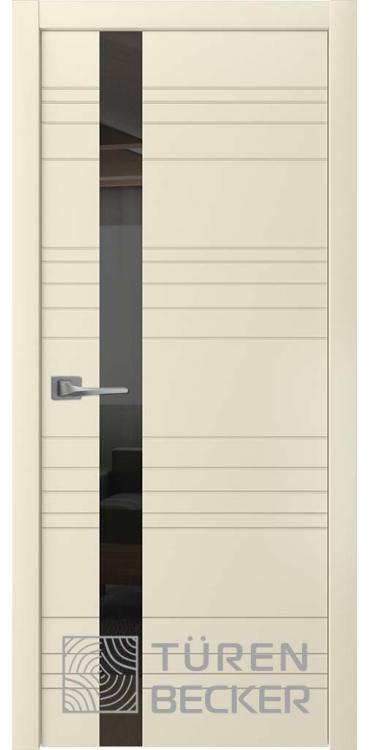 Дверь Соммер Эмаль ПО (стекло - черный лакобель) латте